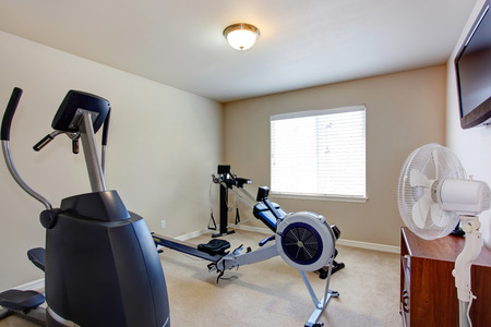 home gym: Home gym with tv and exercise equipments