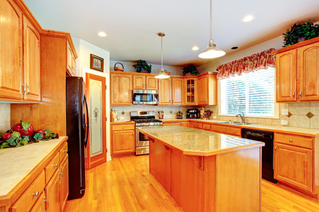kitchen island: Kitchen room interior with island and granite top in luxury house