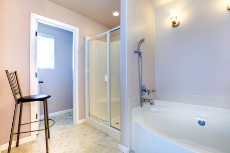 Refreshing Light Lavender Bathroom With White Bath Tub Glass