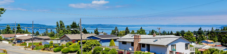 tacoma: Panoramic view of american houses and bay during summer time in Tacoma, Washington state Stock Photo