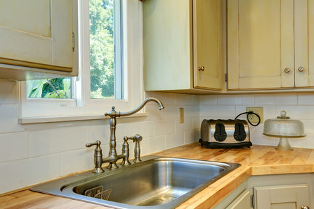 back kitchen: Kitchen cabinet with sink. View of faucet