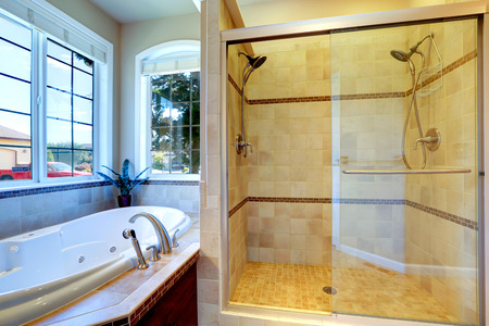 Modern bathroom interior with whirlpool tub and glass door shower