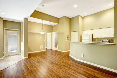 open floor plan: Empty apartment with open floor plan. Living room with hardwood floor and kitchen area