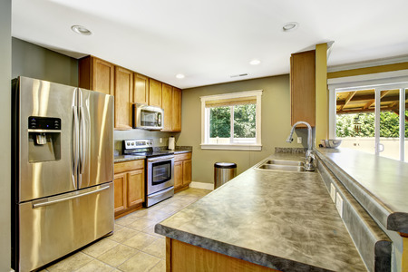 kitchen cabinets: Light olive kitchen interior. Steel appliances and wooden cabinets