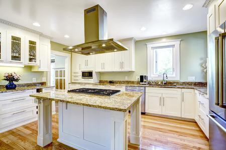 Moderne en praktische keuken kamer ontwerp. Witte kast met granieten toppen, kookeiland met ingebouwde kachel en stalen afzuigkap