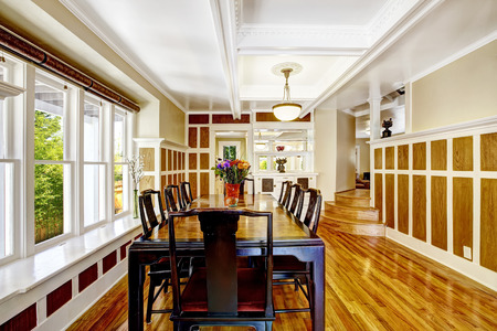 Luxury Spacious Dining Room With Hardwood Floor, Wood Wall Trim.. Stock  Photo, Picture And Royalty Free Image. Image 31305896.