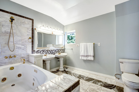 Luxury bathroom interior with tile trim and whirlpool bath tub