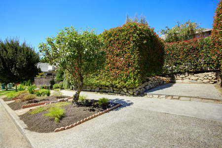 trimmed: Walkway with flower beds, trimmed hedges and trees.