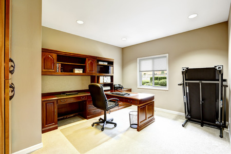 furniture design: Practical interior design. Office room with carved wood furniture