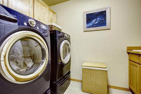 dryer  estate: Modern purple appliances in ivory laundry room.
