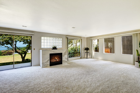 Bright empty room with fireplace and carpet floor. Glass slide door to backyard