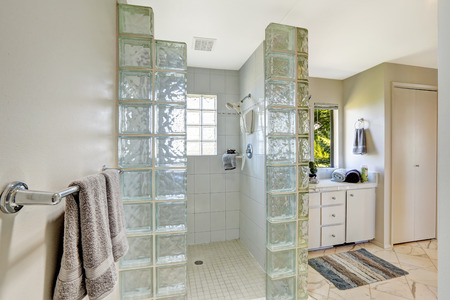 bathroom design: Bathroom interior. Open shower with glass block trim