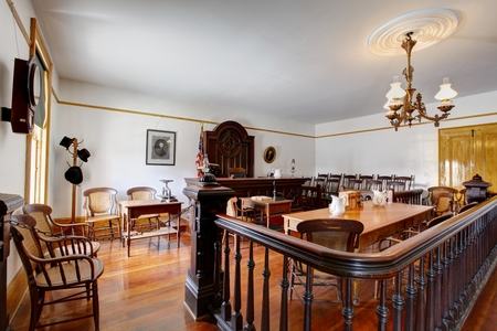 Courtroom in Whaley House Museum, old town of San Diego Editoriali