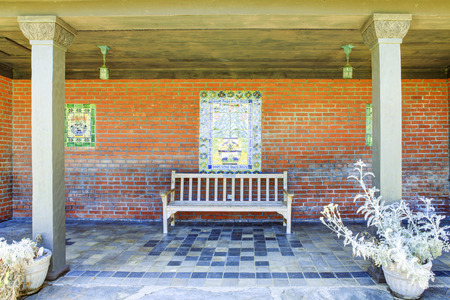 Rest outdoor area with bench in Marston House Museum & Gardens. San Diego, CA Editorial