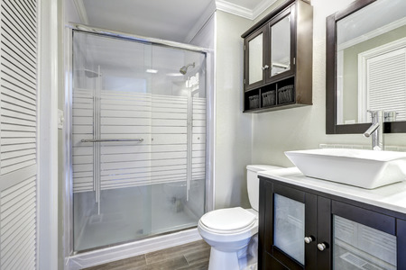 Modern bathroom interior with glass door shower. Brown vanity cabinet with white vessel sink and mirror