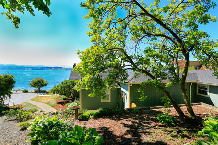 Classic house with curb appeal and water front view. Port Orchard town, WA