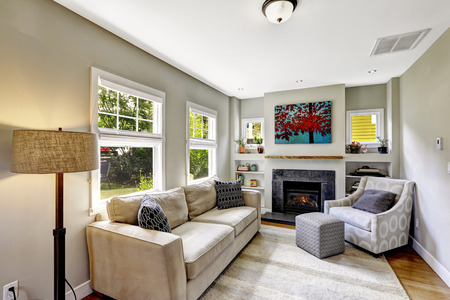 Bright very small room with fireplace, sofa and armchair photo