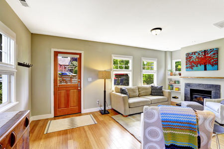 home interior: Bright very small room with fireplace, sofa and armchair. View of entance door with rug on hardwood floor
