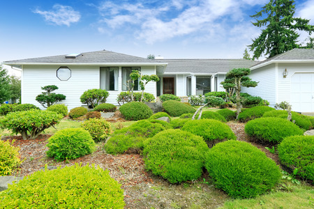 House with beautiful curb appeal. Green landscape with decorative trees and lawn