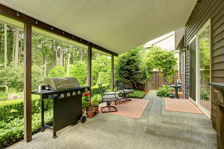 porch: Covered walkout deck wiht patio area and landscape
