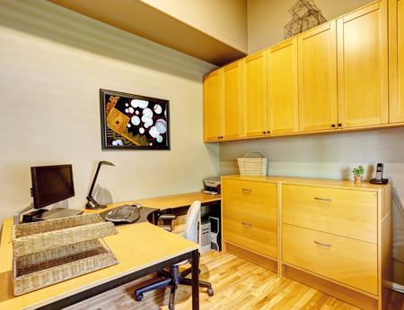 home office desk: Practical office room design. Desk with cabinets and whirlpool chair