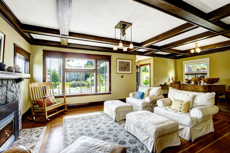 ceiling light: Living room design idea. Coffered ceiling, stone trim fireplace and white furniture set
