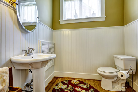 white trim: Old bathroom interior with green wall and white plank panel trim. White toilet and washbasin stand Stock Photo