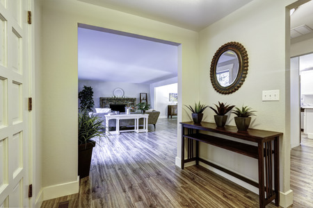 Entrance hallway with table and flower pots. View of spacious living room