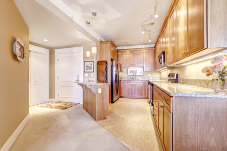 granite kitchen: Spacious kitchen room with wooden storage cabinets, granite tops and island. Entrance hallway with carpet floor Stock Photo