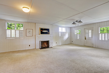 basement: Spacious empty basement room with brick fireplace Stock Photo