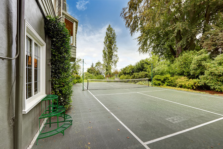 tacoma: Modern house with tennis court. Tacoma real estate Stock Photo