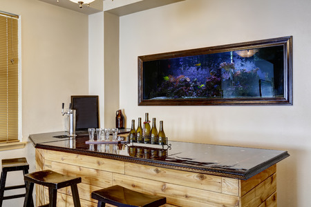 bar counter: Soft ivory bar room with built in the wall aquarium. Wooden cabinet with shiny black counter top