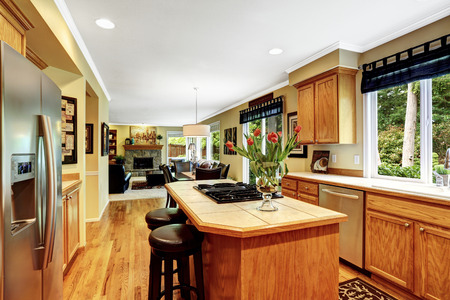 Luxury House Kitchen kitchen in luxury house. kitchen island with built-in stove and