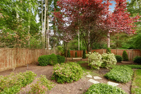 sitting area: Spacious green backyard with wooden fence. Romantic sitting area