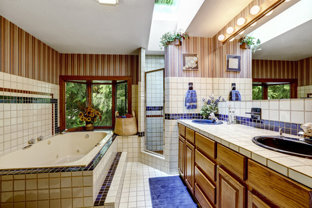 skylight: Bathroom with skylight. Brown wallpaper and tile wall trim Stock Photo