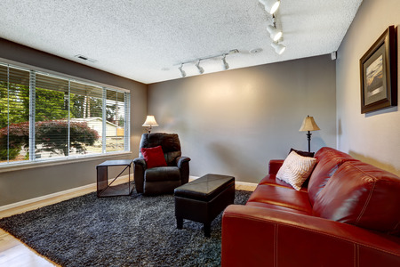 grey rug: Room in grey color with red leather sofa, armchair and soft rug