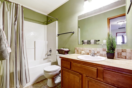 white trim: Bathroom interior in green color with white bath tub and wooden cabinet with tile trim