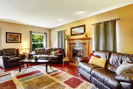 couches: Living room interior with leather couches and colorful soft rug