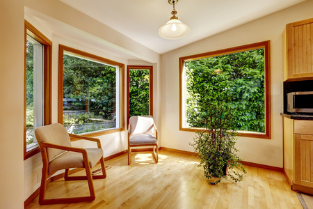 sunroom: Sunroom interior with two chairs and decorative tree
