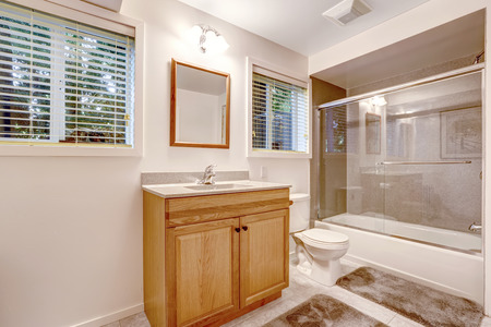 screened: Bathroom interior with glass screened bath tub. Brown cabinet with mirror Stock Photo
