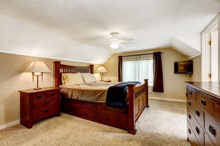 master bedroom: Low ceiling master bedroom with rich furniture set Stock Photo