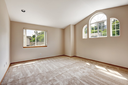 master bedroom: Empty master bedroom with arch window and high vaulted ceiling Stock Photo