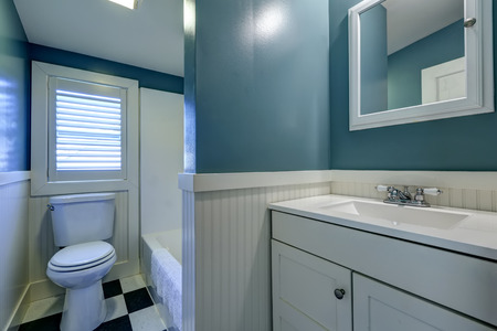 bathroom mirror: Blue bathroom interior with white wall trim
