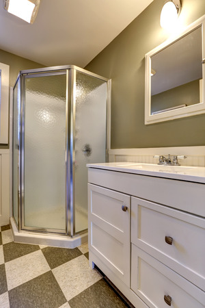 screened: Bathroom with screened shower, white bathroom vanity cabinet with mirror