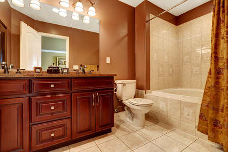 modern: Bathroom in brown color with beige tile trim. Modern wooden cabinet with granite top and mirror Stock Photo