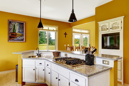 Farm house interior. Luxury kitchen room with white cabinet. Cabinet with granite top, with built-in stove and sink photo