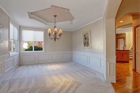trim wall: Empty room with wall trim and soft carpet floor in luxury house