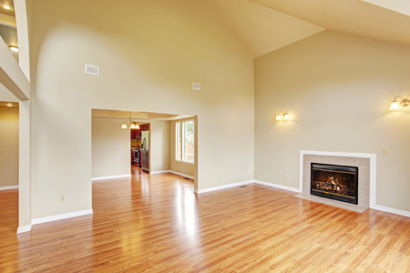 Spacious living room with high vaulted ceiling,  fireplace and new hardwood floor in empty new house photo