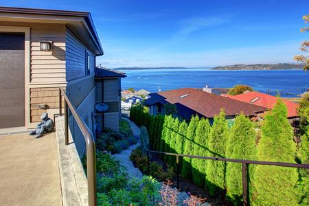 tacoma: House exterior. Puget Sound view, Tacoma, WA Stock Photo