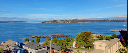 tacoma: Beautiful panoramic view of  Puget Sound in Tacoma, WA